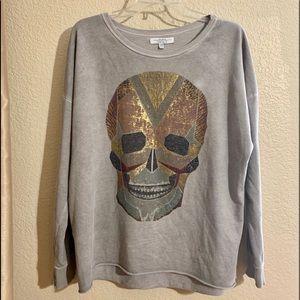 Zara Oversized Skull Sweatshirt Grunge Med